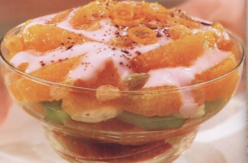 Салат коктейльс апельсином груше яблоками виноградом со сметаной фото