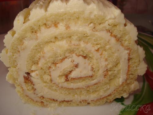 Бисквитный рулет с масляным кремом рецепт с фото пошагово